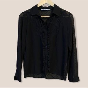 Zara Black Sheer Embroidered Button-Down Blouse